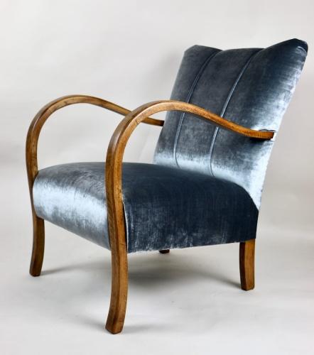 Fotel Gięty Srebrny Vintage Lata 70 Art Deco